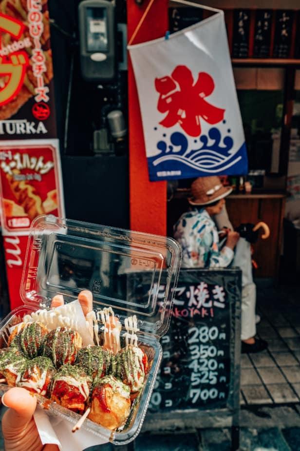 Takoyaki street food in Japan