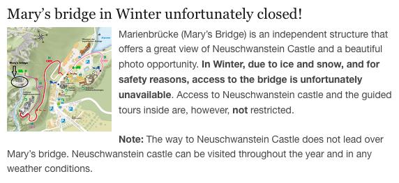 Marienbrucke Bridge is closed in the winter