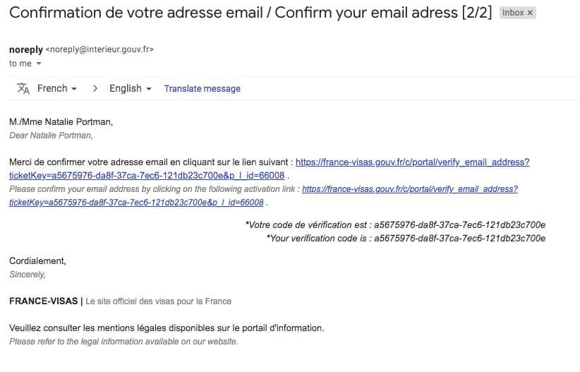 Second Email confirmation from France Visa Website
