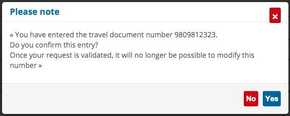 Confirm your passport number on France Visa Website