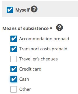 Your Funding of Travel Costs Form