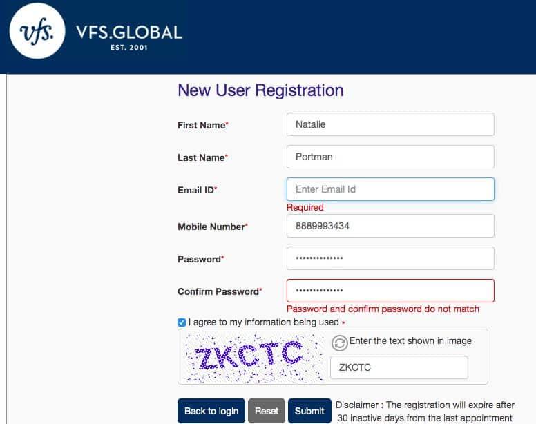 VFS Global New User Registration