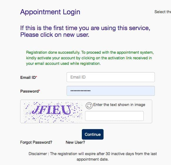 Appointment Login for VFS Global