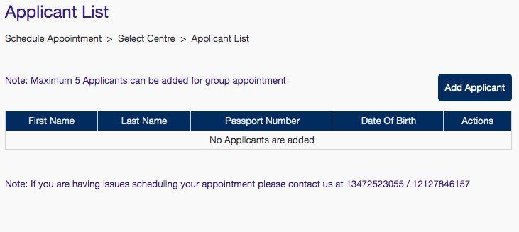 VFS Global Visa Applicant List