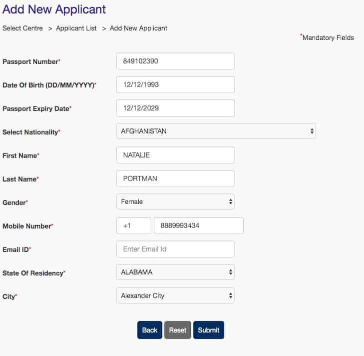 Add New Visa Applicant