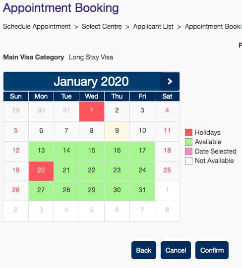 Calendar for Booking a France Visa Appointment with VFS