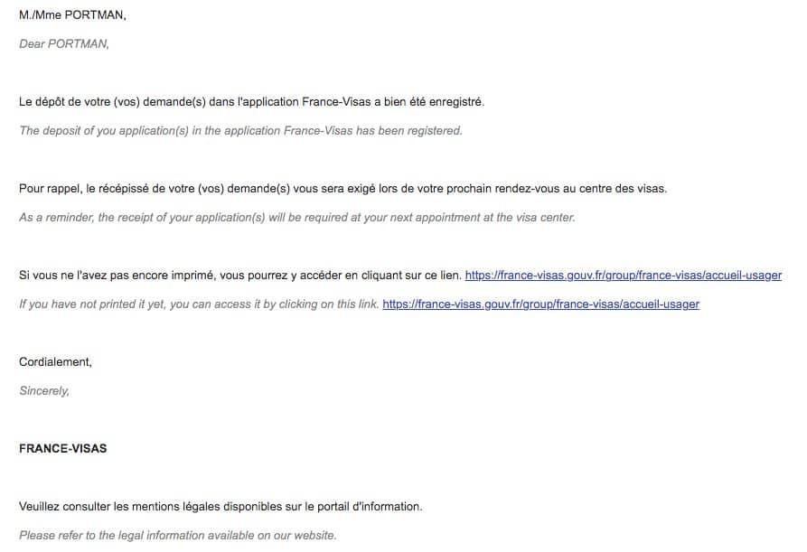 Official France Visa Website Confirmation Email