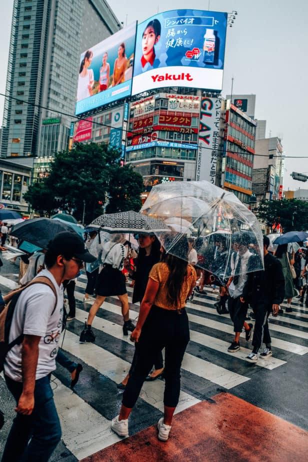 Girl standing with umbrella at Shibuya Crossing in Tokyo, Japan