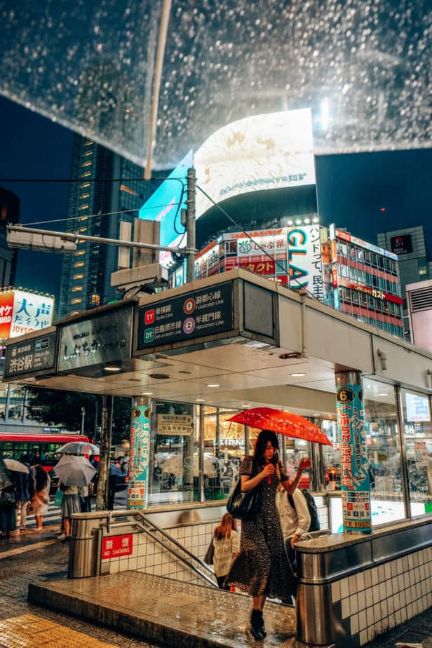 Metro Stop at Shibuya Crossing at night in Japan