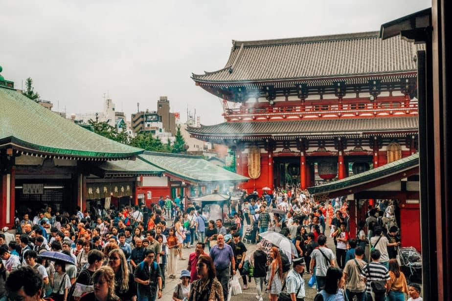 View from inside Senso-Ji Temple in Tokyo, Japan
