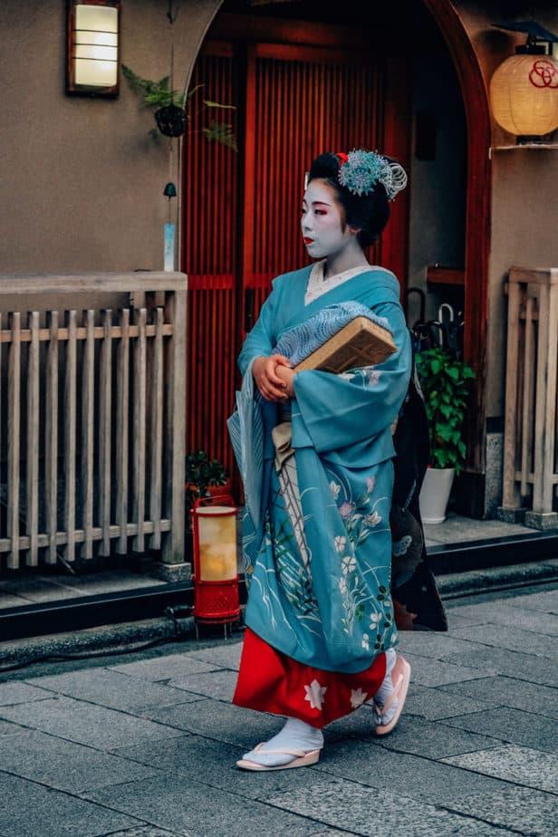 A geisha walking around Kyoto, Japan