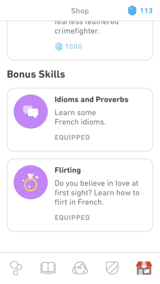 Bonus Skills on Duolingo