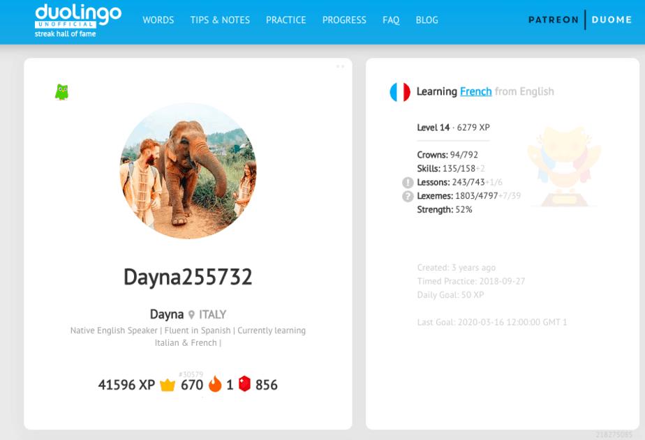 Duome website for duolingo