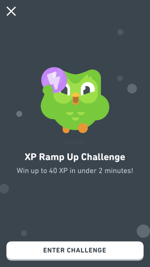 Ramp Up Challenge on Duolingo for 40 XP in 2 Minutes