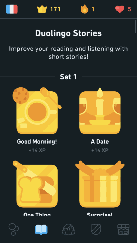 Duolingo Stories Tab for 14 XP