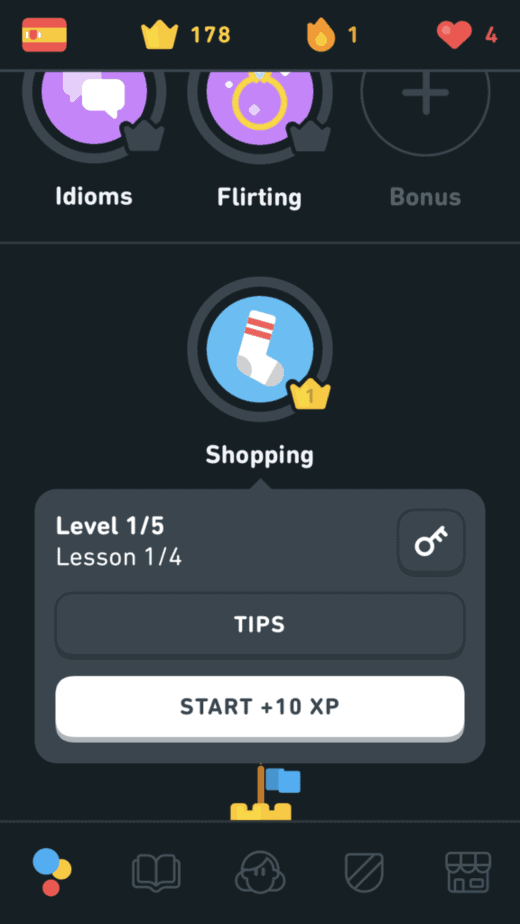 The Key Button to Test out of a Skill in Duolingo for 50 XP