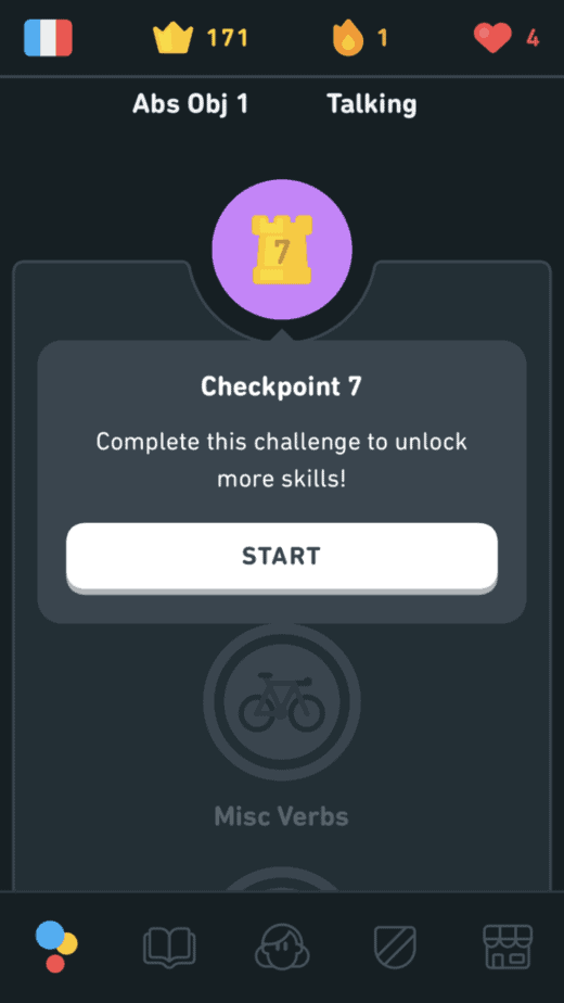 Checkpoints in Duolingo