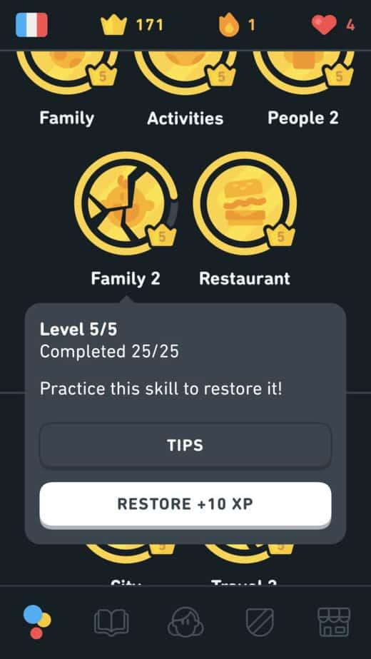 Restore a skill in Duolingo for 10 XP