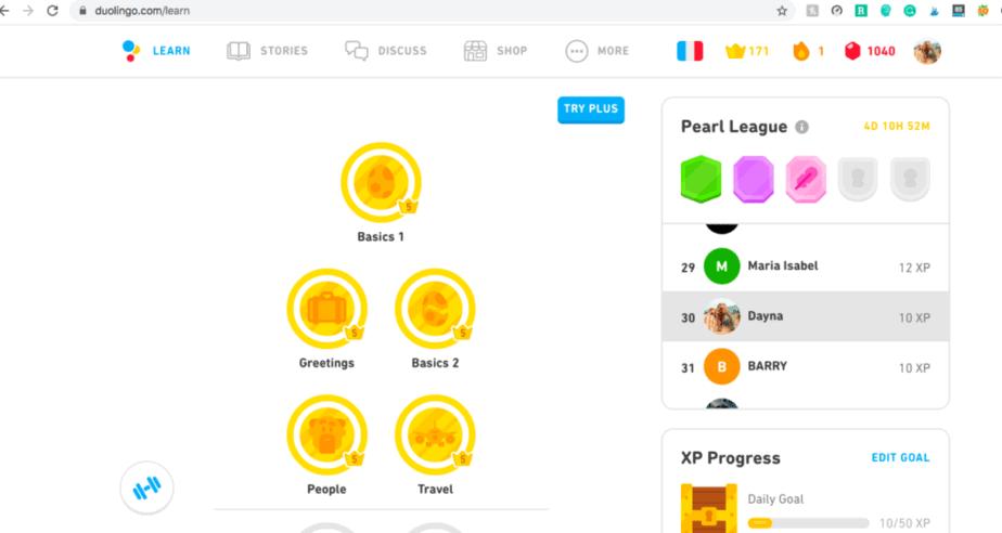 Duolingo Desktop Home Page