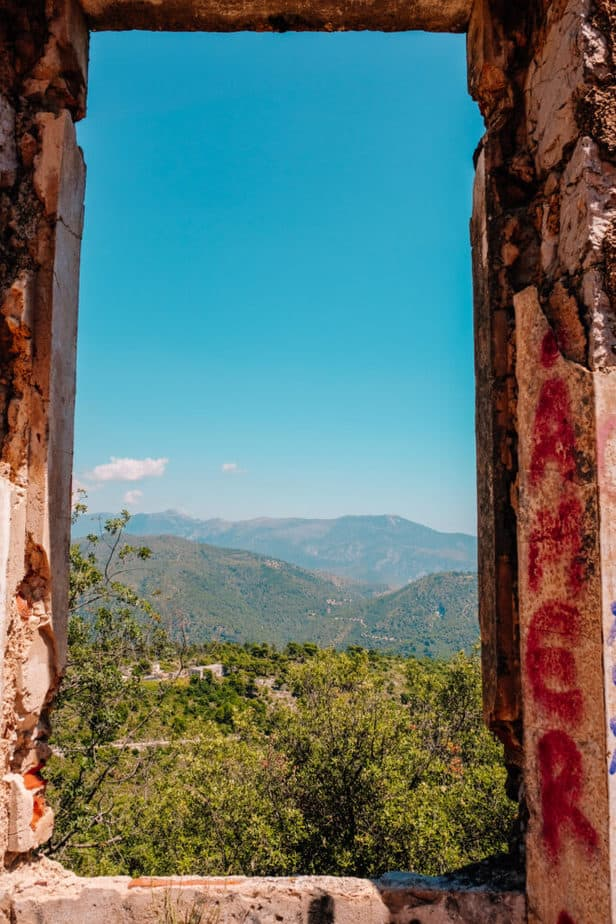 view from abandoned house on mont chauve hike