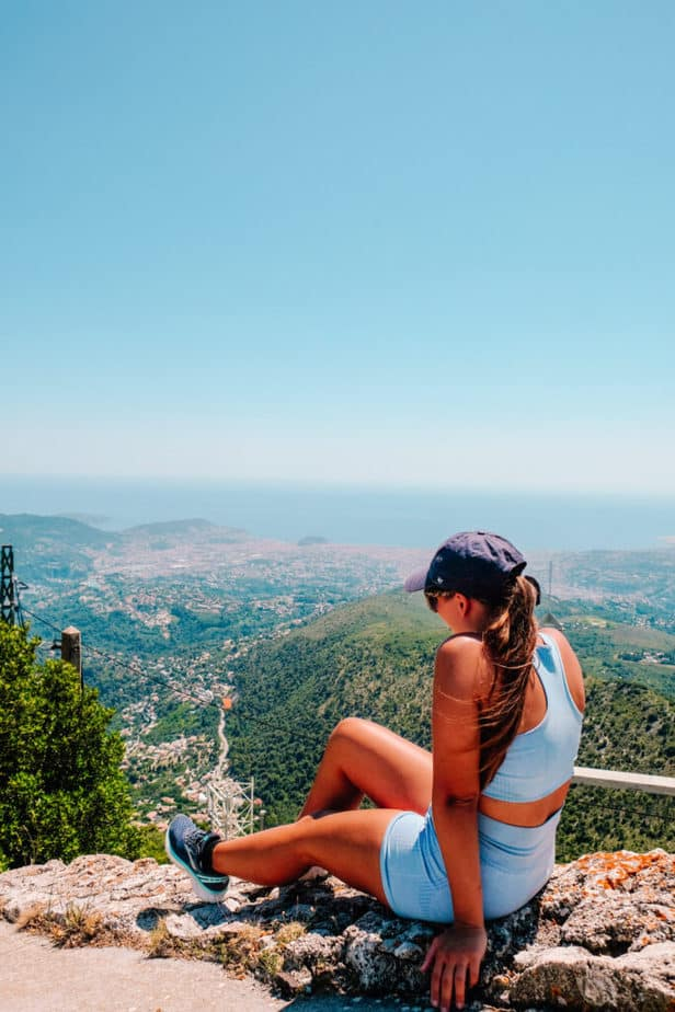 girl sitting on top of the fort at mont chauve