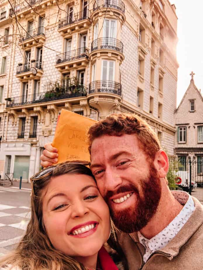 a couple smiling in Nice, France