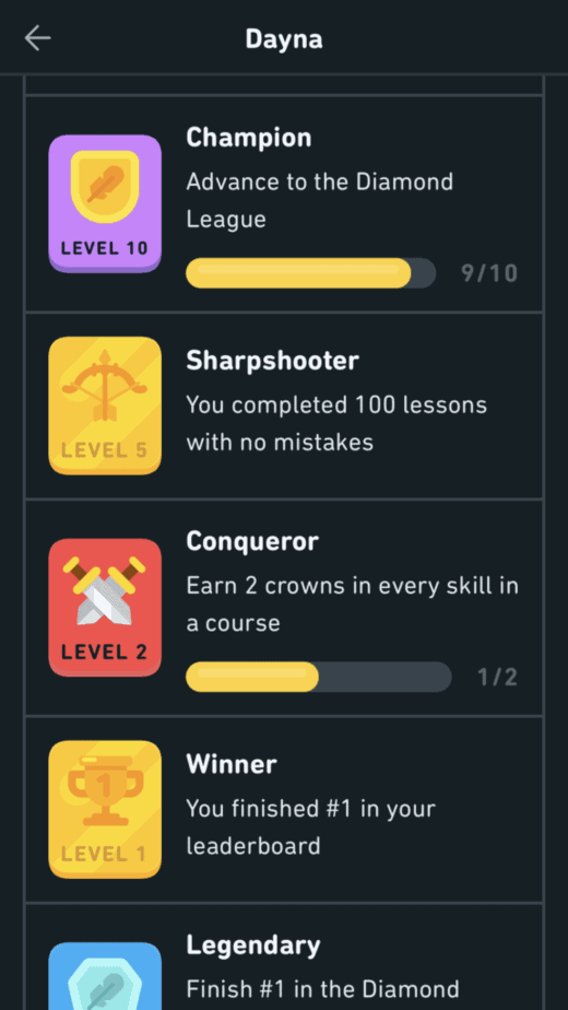 achievements for advancing to the diamond league on duolingo