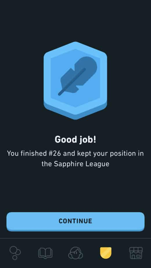 continue button in the leagues on duolingo