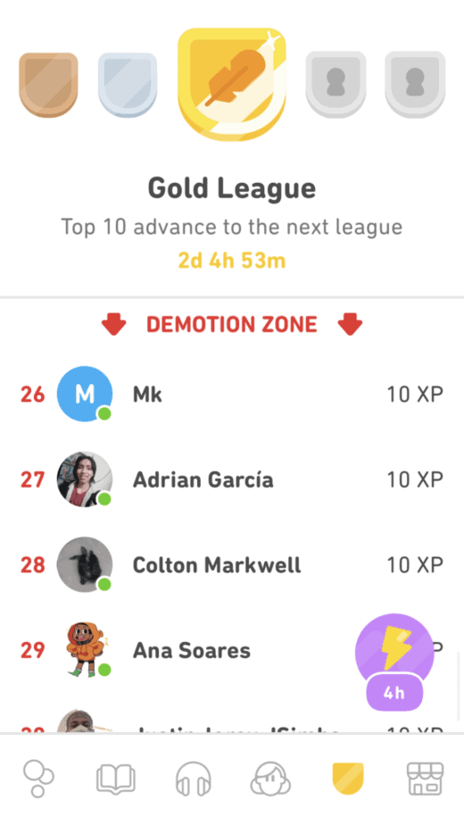 demotion zone in the gold league on duolingo