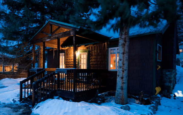 snow covered cabin airbnb rental