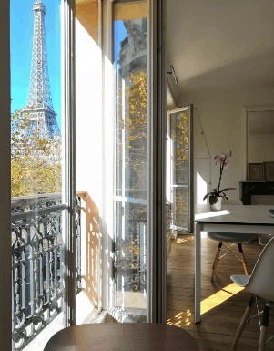 Apartment rental with view of Eiffel Tower