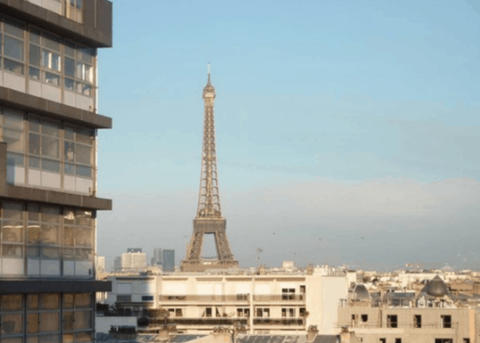 Building and Eiffel Tower