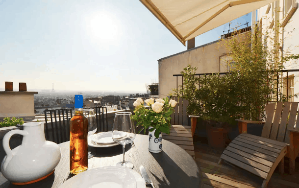Large terrace with view of Eiffel Tower