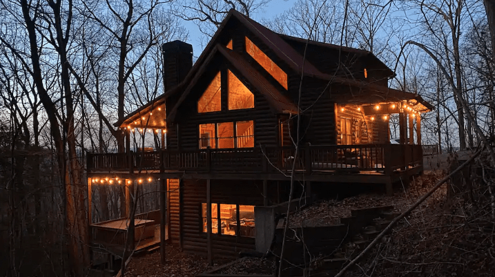 outside of cabin at night in Blue Ridge