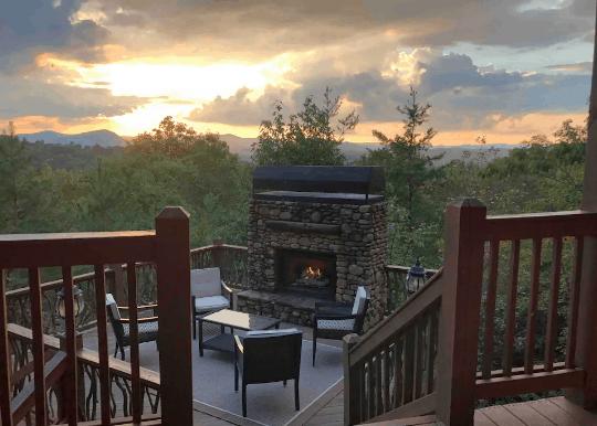 Outdoor fireplace with mountain views Georgia