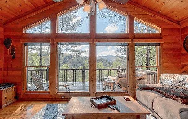 Log can rental Airbnb mountain views
