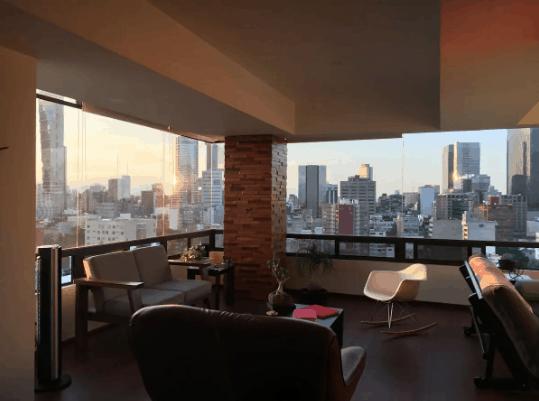 180-degree skyline view apartment Mexico City
