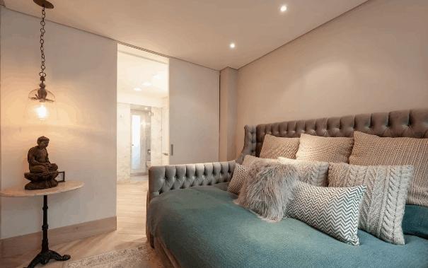 Bohemian luxury bed in Airbnb rental