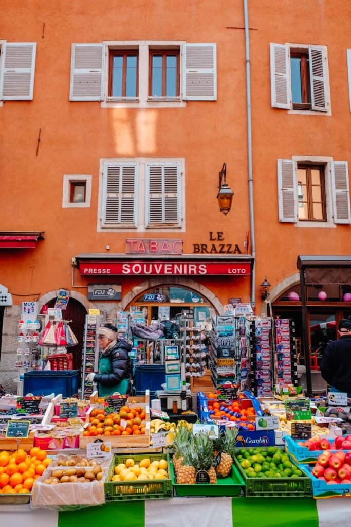 local market in old town annecy