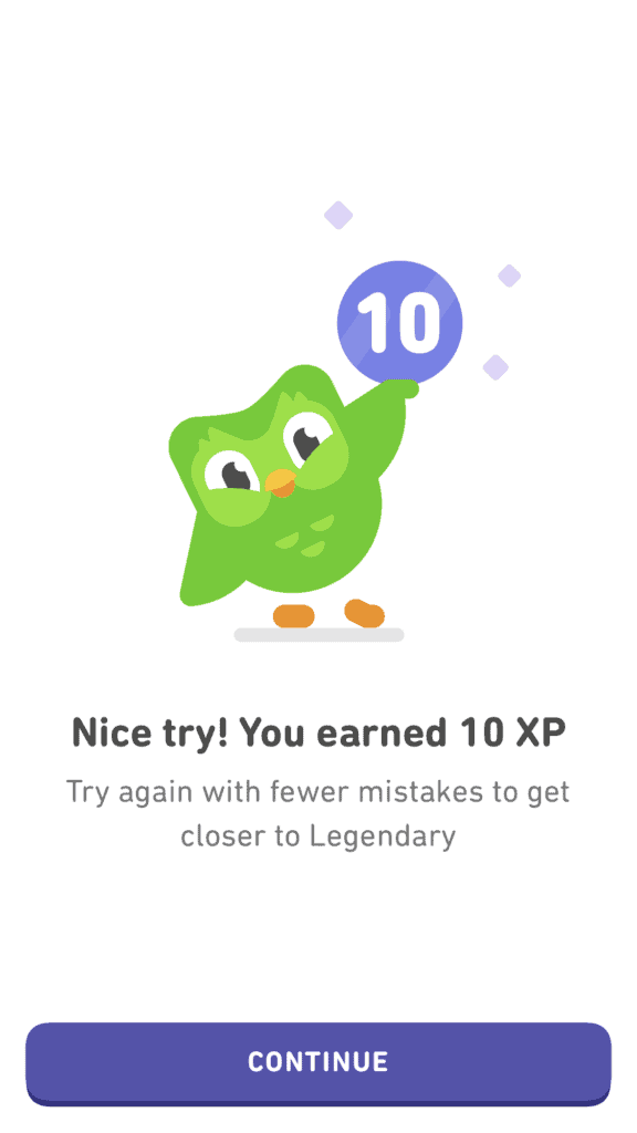 Make a Mistake and earn 10 XP in Legendary Level
