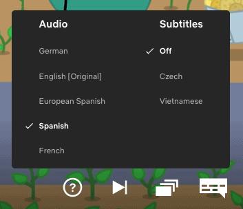 Spanish subtitles on Netflix for Peppa Pig