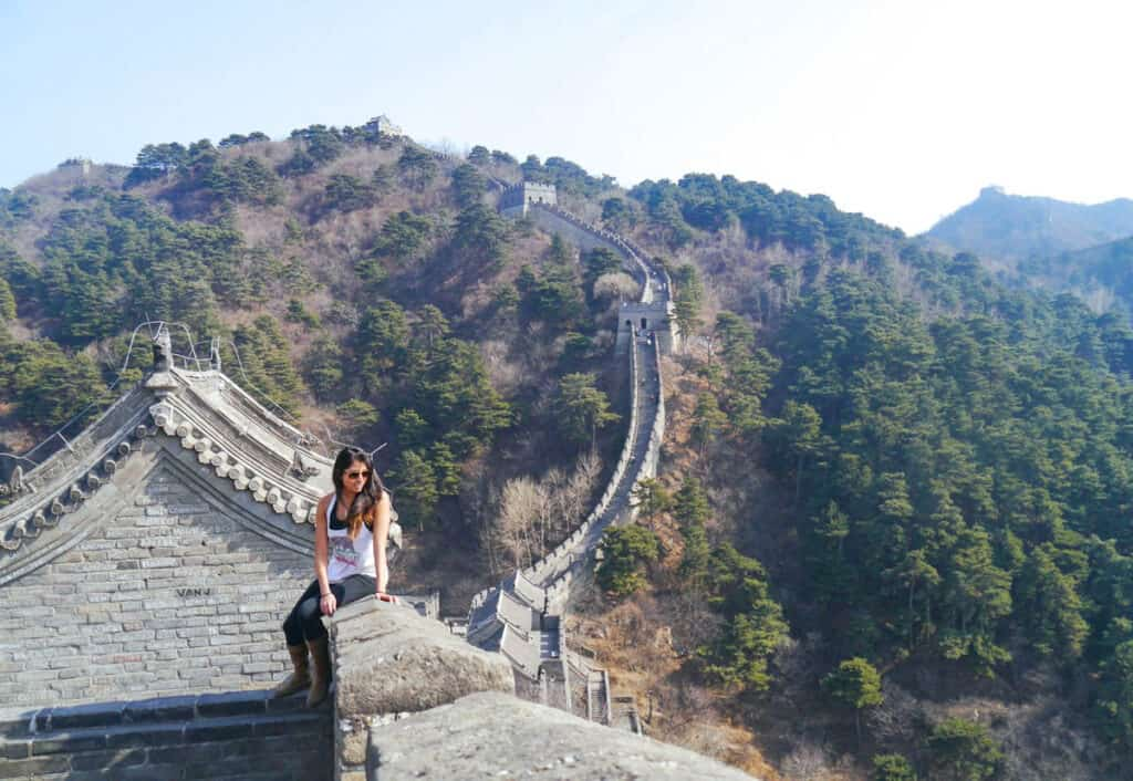 girl on the Great Wall in China