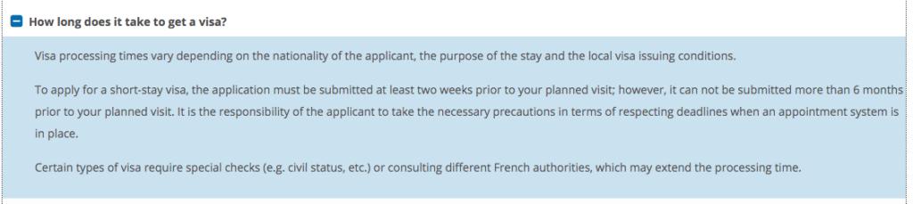 visa processing time for long stay visa france