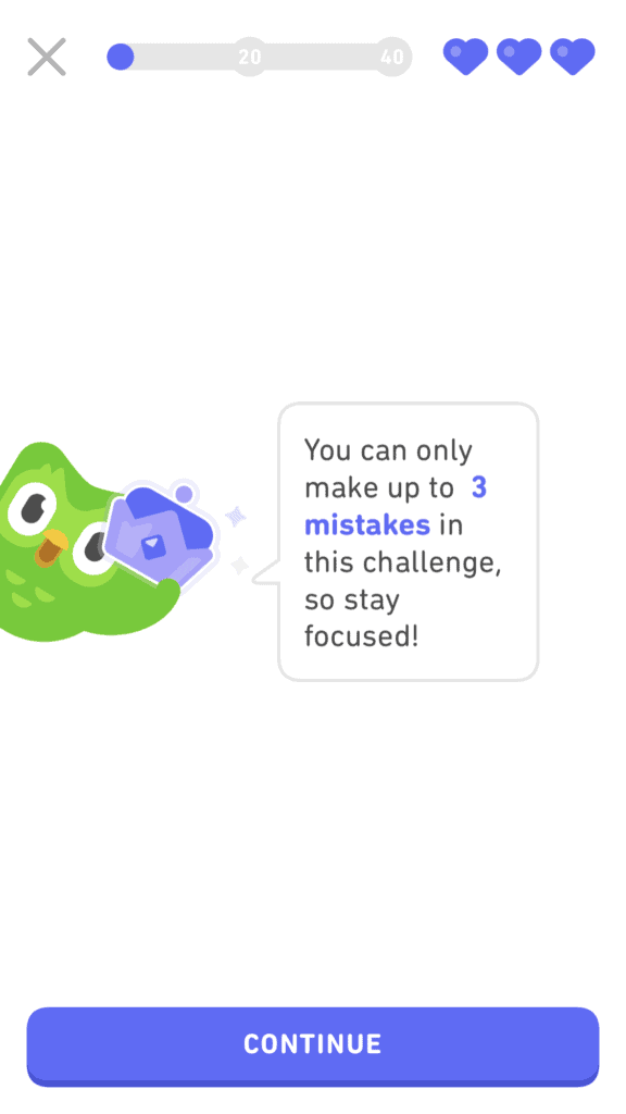 3 mistakes allowed in Duolingo Legendary Level