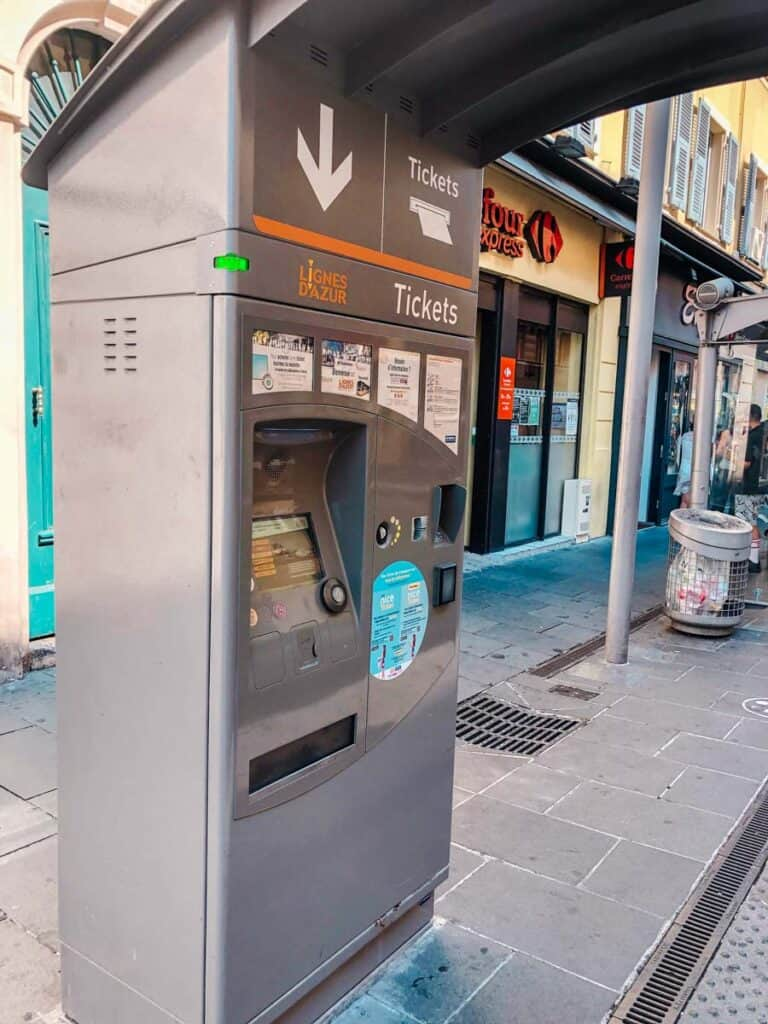 bus ticket kiosk in Nice, France