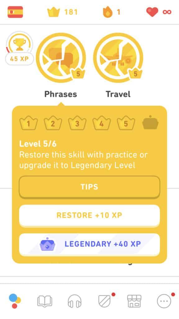 Legendary level for 40 XP