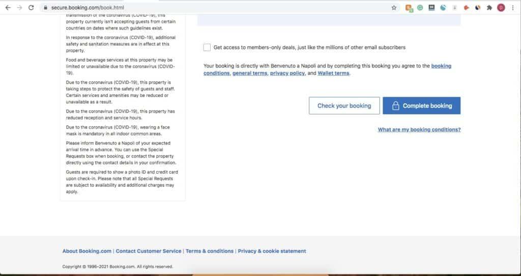 Booking.com payment page Desktop