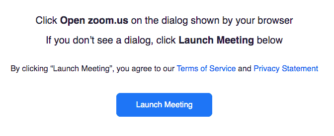 Launch Meeting for Zoom