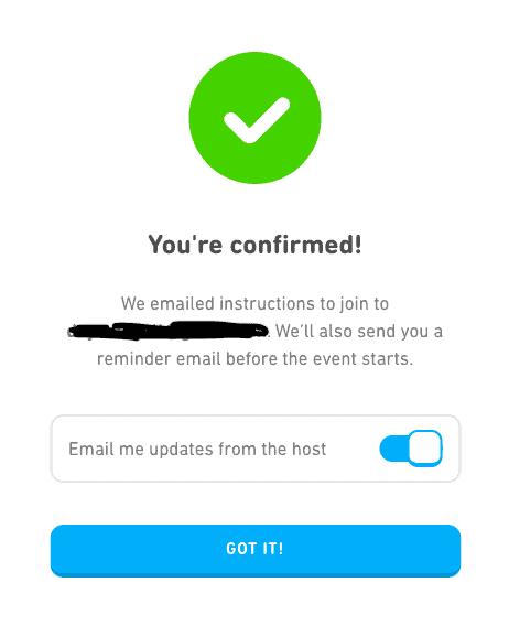 Confirm Attendance to Duolingo Event