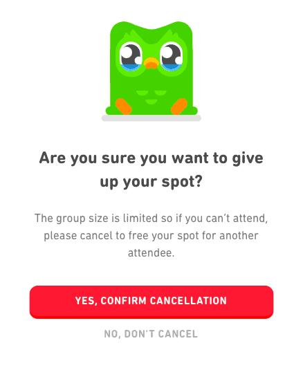 Confirm Cancellation of Duolingo Event